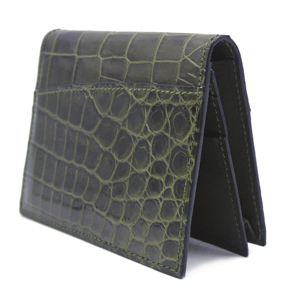 Gracen Crocodile Card Case, Green