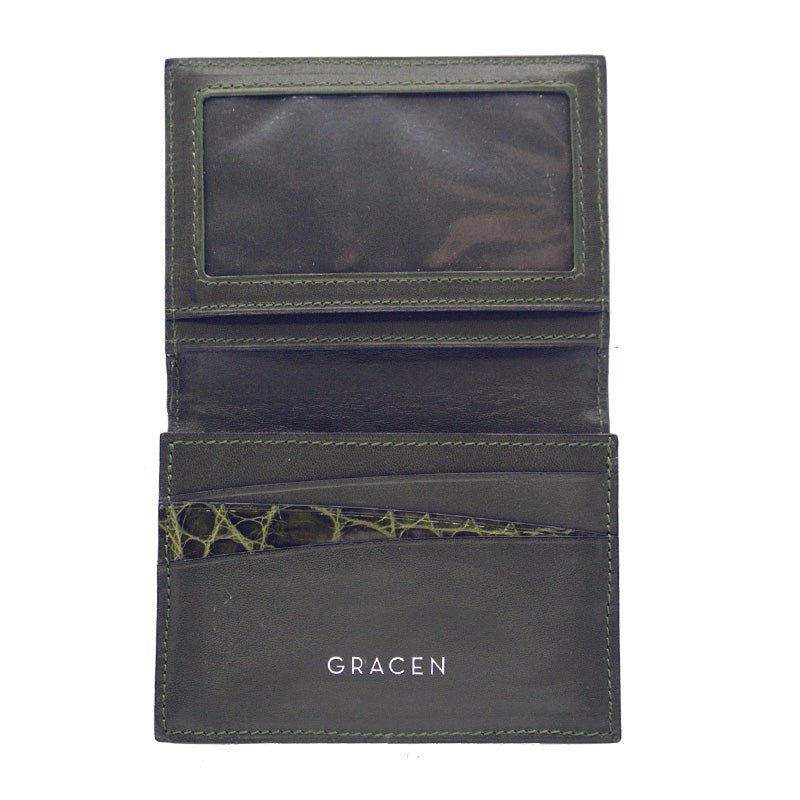 40-672-GRN Gracen Crocodile Card Case, Green