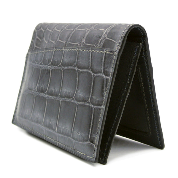 Gracen Crocodile Card Case, Gray
