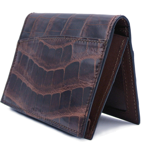 40-672-NIC Gracen Crocodile Card Case, Nicotine