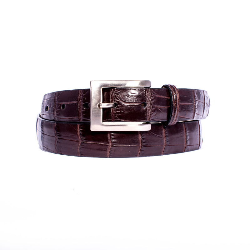 "NILE Crocodile 1 1/4"" Belt Nicotine"