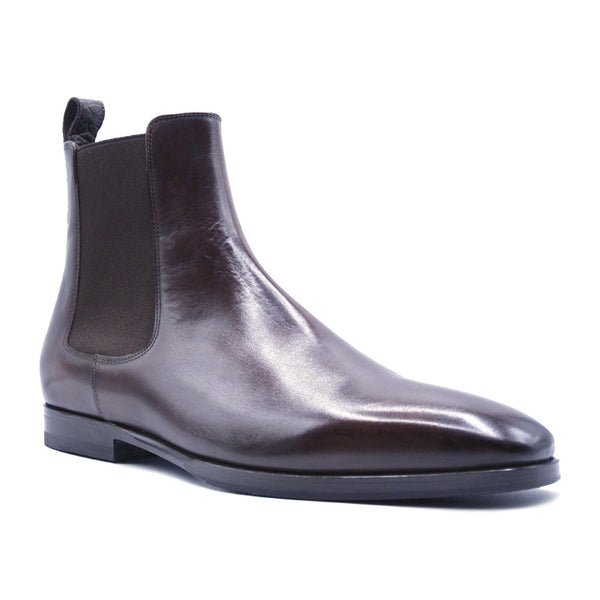 41-320-BRN AVVIO Patina Calfskin & Crocodile Chelsea Boot, Brown