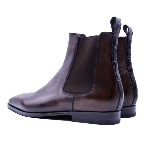 AVVIO Patina Calfskin & Crocodile Chelsea Boot, Brown
