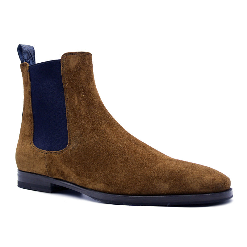 AVVIO Sueded Goatskin & Crocodile Chelsea Boot, Cognac