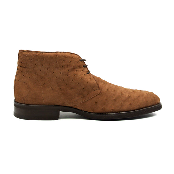 43-591-BRS MARCO Ostrich Suede Chukka Boots, Brown