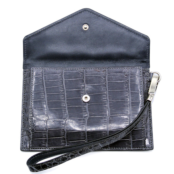 Gracen Crocodile Envelope, Gray