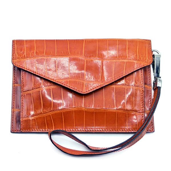 Gracen Crocodile Envelope, Orange