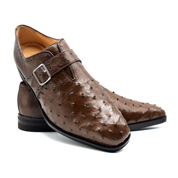 ANTONIO Ostrich Quill Monk Strap, Brown