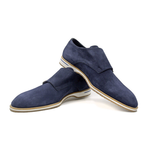 LEGERRA Sueded Goatskin Monkstrap, Blue