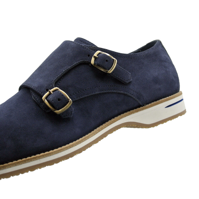 56-100-BLU LEGERRA Sueded Goatskin Monkstrap, Blue
