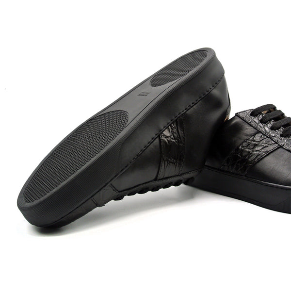 61-100-BLK LUCA Italian Calfskin with Crocodile Toe, Black