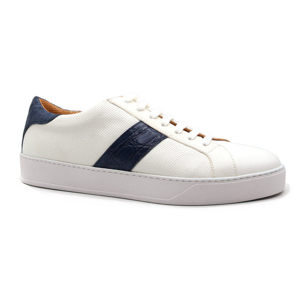 61-101-NVY OLYMPIAS Italian Calfskin and Crocodile Stripe, Navy