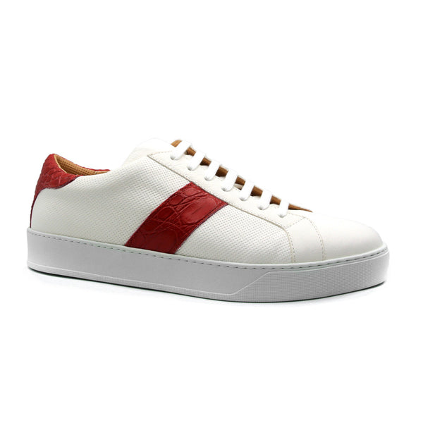 OLYMPIAS Italian Calfskin and Crocodile Stripe, Red