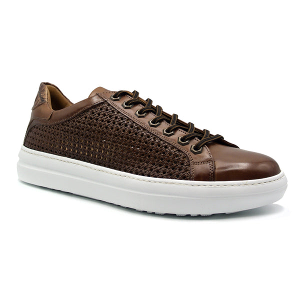 VENTO Calfskin Side Weave & Embossed Crocodile Sneaker, Cinnamon
