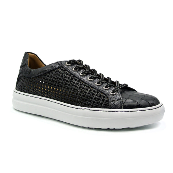 65-205-BLK VENTO Calfskin Side Weave & Embossed Crocodile Sneaker, Black