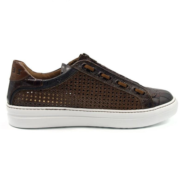 VENTO 2 Calfskin Side Weave & Embossed Crocodile Sneaker, Brown
