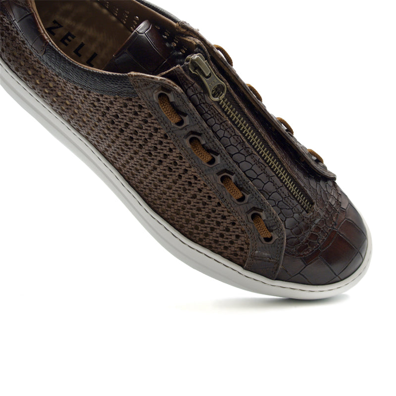 65-206-BRN VENTO 2 Calfskin Side Weave & Embossed Crocodile Sneaker, Brown