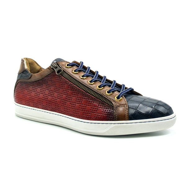 BREZZA Calfskin & Embossed Crocodile Sneaker, Red