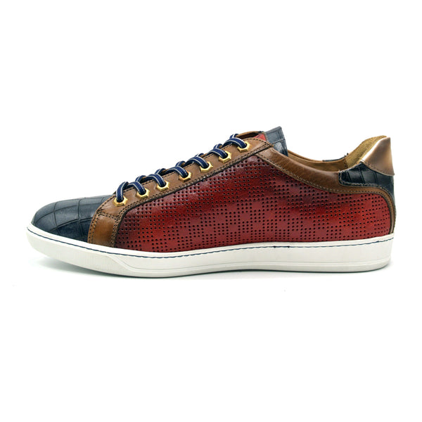 65-209-RED BREZZA Calfskin & Embossed Crocodile Sneaker, Red