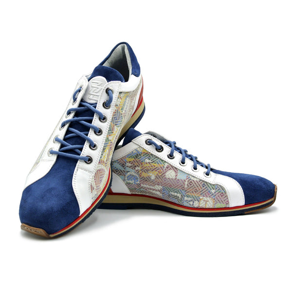 65-211-BLU ALPHA Sueded Calfskin with Print Sneaker, Blue