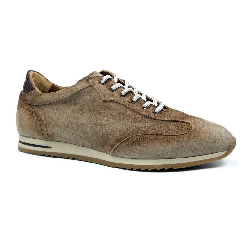 66-200-BRN COSTA Italian Burnished Suede Sneaker, Brown