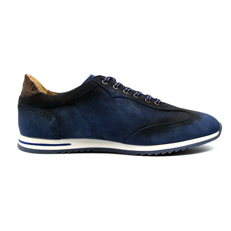 66-200-NVY COSTA Italian Burnished Suede Sneaker, Navy