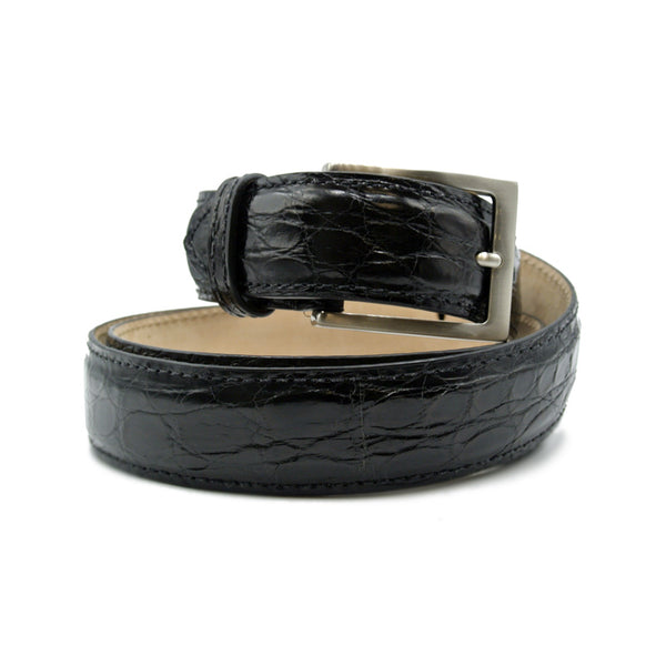 71-155-BLK CAIMAN CROCODILE Belt, Black