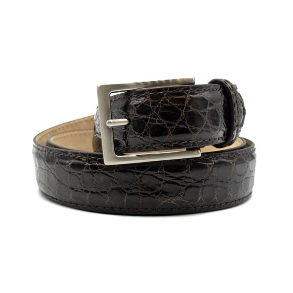 CAIMAN CROCODILE Belt, Nicotine