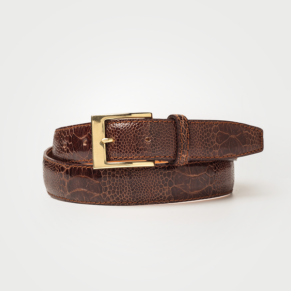 Ostrich Leg Belt - Dark Brown