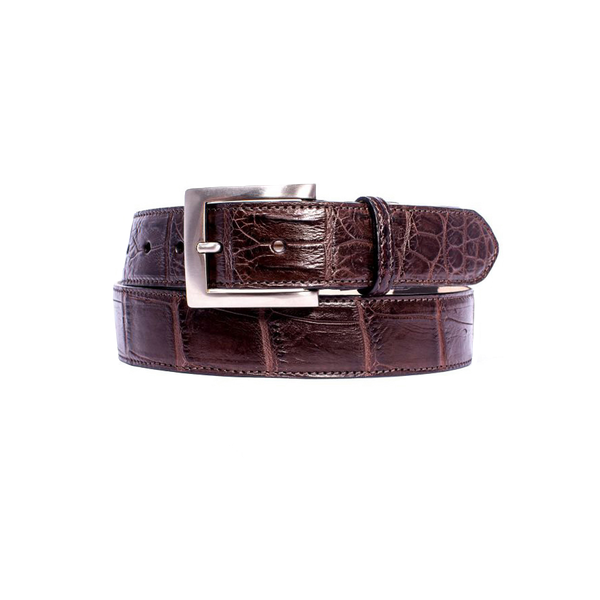 "NILE Crocodile 1 3/8"" Belt Nicotine"