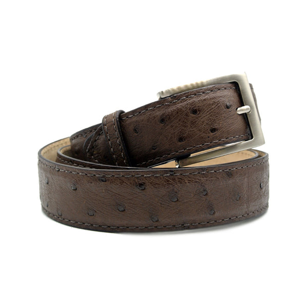 OSTRICH QUILL Belt, Brown