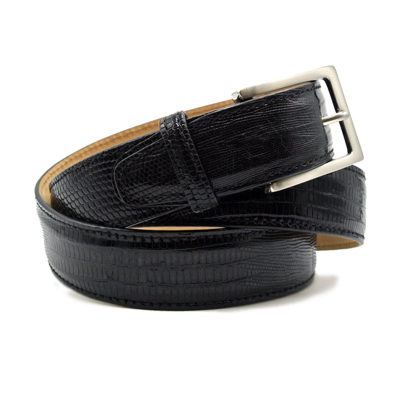 74-350-BLK BELT TEJU LIZARD, Black
