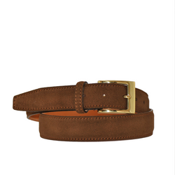 Italian Sueded Calfskin Belt Brown