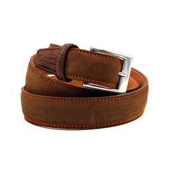 76-255-CGN Italian Sueded Calfskin with Crocodile Trim Cognac