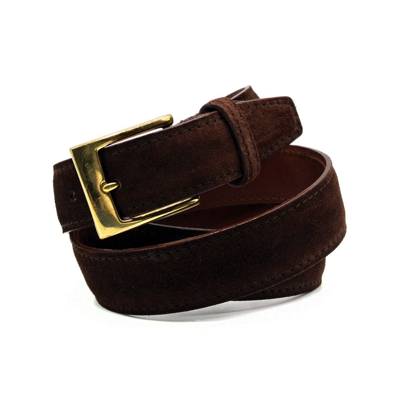 76-255-CHO Italian Sueded Calfskin Belt Chocolate