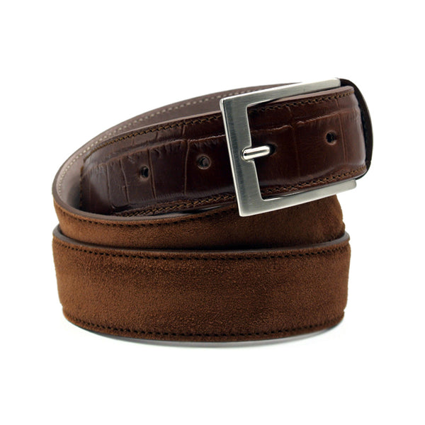 Sueded Calf with Embossed Crocodile Belt, Cognac