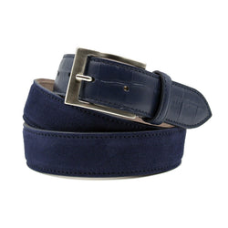 76-425-NVY Sueded Calf with Embossed Crocodile Belt, Navy