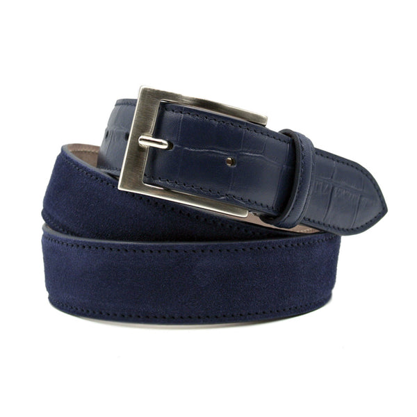 Sueded Calf with Embossed Crocodile Belt, Navy