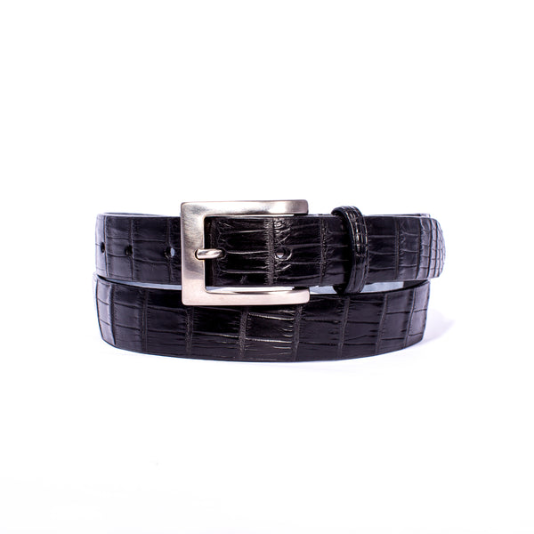 "NILE Crocodile 1 1/4"" Belt Black"