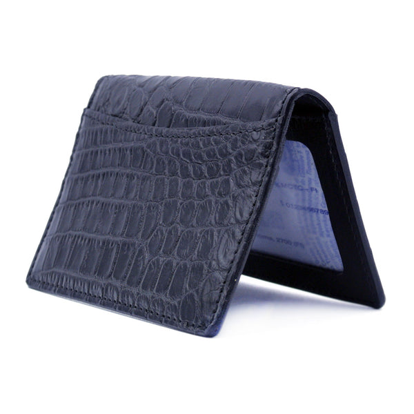 O-81-500-BKM CROCODILE Card Case, Black Matte