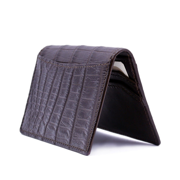 CROCODILE Card Case, Brown Matte