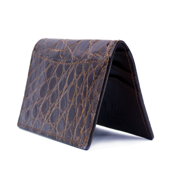 CROCODILE Card Case, Cognac