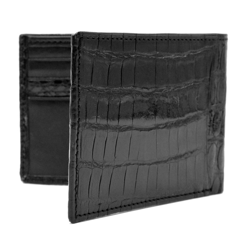 81-540-BLK CROCODILE Bi-Fold Wallet Black