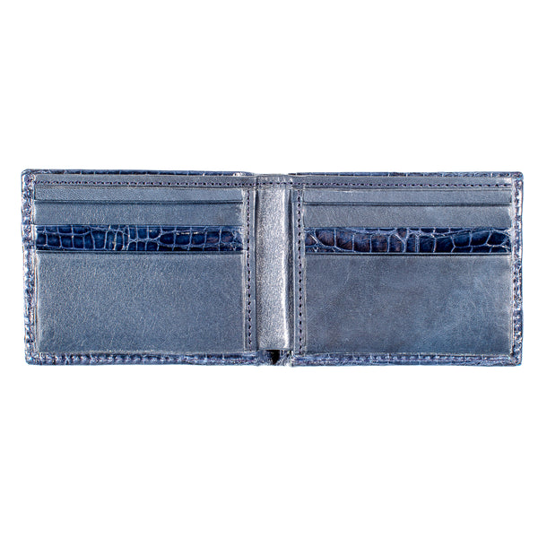 81-540-NVY CROCODILE Bi-Fold Wallet Navy