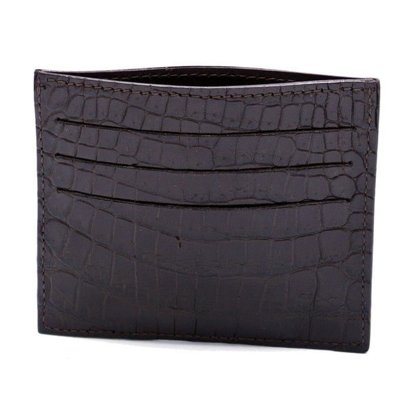 CROCODILE Card Holder, Brown Matte