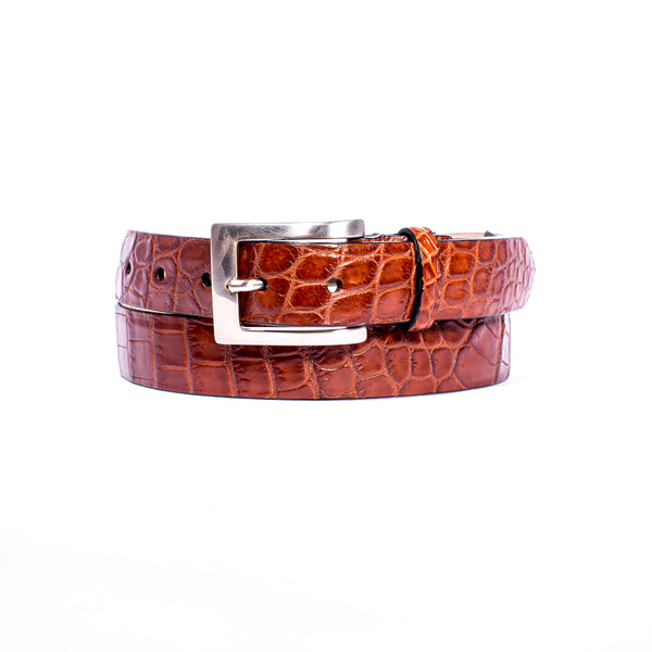 "NILE Crocodile 1 1/4"" Belt Cognac"