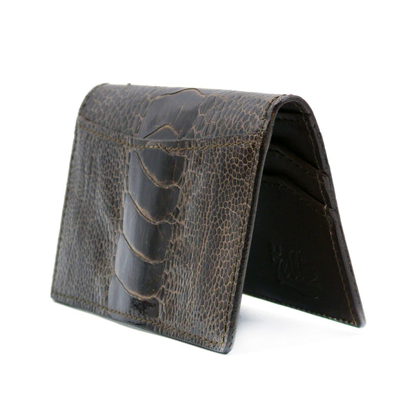 0555BR Ostrich Leg Card Case, Dark Brown