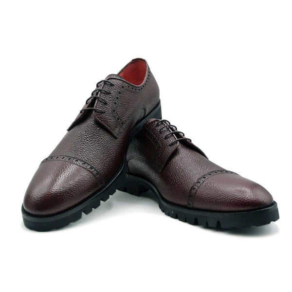SMPL-CD-007 Pebblegrain Calfskin Captoe Derby