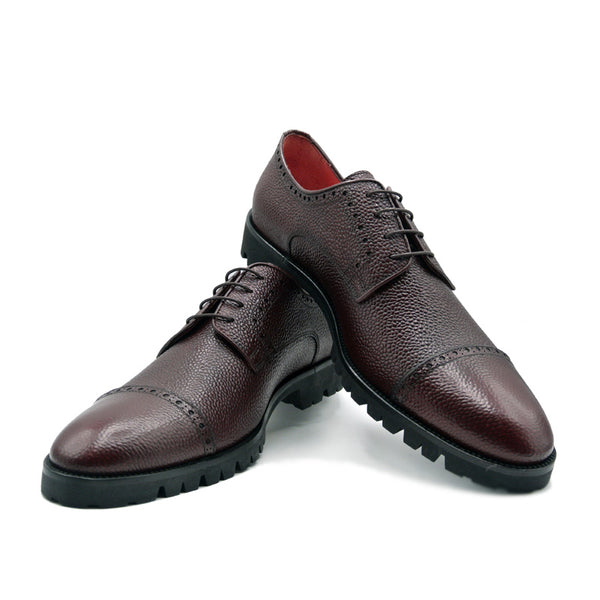 SMPL-CD-008 Pebblegrain Calfskin Captoe Derby