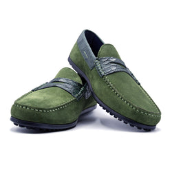 SMPL-DR-020 Sueded Calfskin & Crocodile Driver